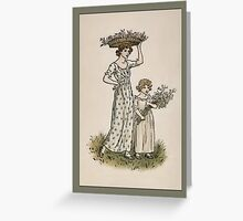 Greetings-Kate Greenaway-Mother/Daughter Collecting Blossoms Greeting Card