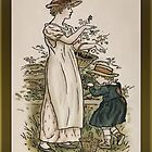 Greetings-Kate Greenaway-Mother/Daughter with Baskets by Yesteryears