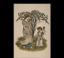 Kate Greenaway-Mother/Daughter under Tree iPhone Case by Yesteryears