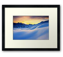 Sunset in the mountains in the Alps Framed Print
