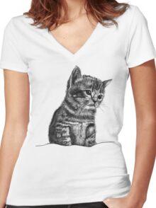 Wilbur The Kitten Women's Fitted V-Neck T-Shirt