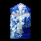 Blue Crucifix on Glass Window - Original by HazardousCoffee