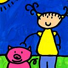 Happi Arte 1 - Girl With Pink Pig Art by Sharon Cummings
