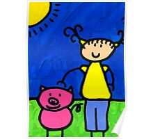 Happi Arte 1 - Girl With Pink Pig Art Poster
