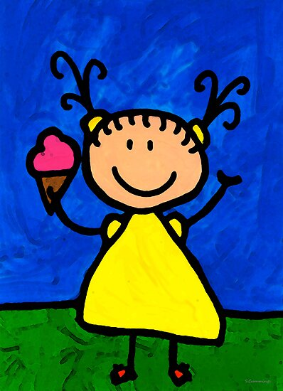 Happi Arte 3 - Little Girl Ice Cream Cone Art by Sharon Cummings