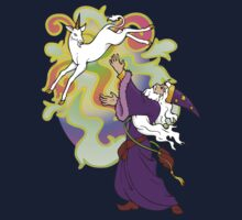 Wizard conjuring a Unicorn by Hannafate