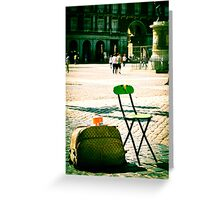 An empty chair in a big plaza Greeting Card