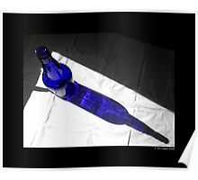 Cobalt Blue Glass Bottle Shadow  Poster
