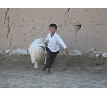 The School Boy and the Goat Photographic Print