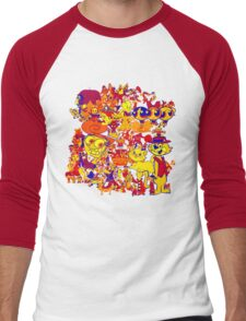 cartoon mixed Men's Baseball ¾ T-Shirt
