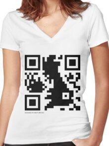 QR Code - Great Britain Women's Fitted V-Neck T-Shirt