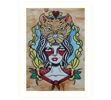 Lady With Cheetah Art Print