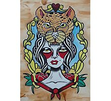Lady With Cheetah Photographic Print
