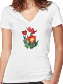 Bright Red Tulips Women's Fitted V-Neck T-Shirt