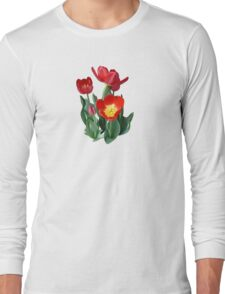 Bright Red Tulips Long Sleeve T-Shirt