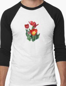Bright Red Tulips Men's Baseball ¾ T-Shirt