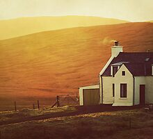 Sun Shining On Halfway House, Shetland Islands. by ArtofOrdinary