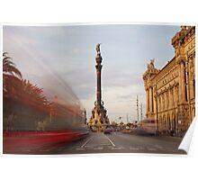 colon statue barcelona Poster