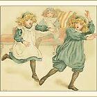 Greetings-Kate Greenaway-Three Girls Arguing by Yesteryears