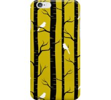 Birds and Trees in Yellow and Black iPhone Case/Skin