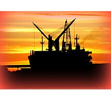 Silhouette of a fishing Vessel Photographic Print
