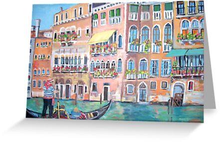 Venice Gondola on Grand Canal by Teresa Dominici