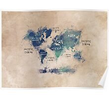 World map continents  Poster