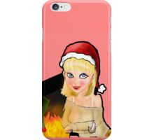 manga christmas girl by open fire iPhone Case/Skin