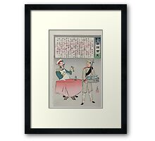 A Russian officer sitting at a table is about to eat but a Japanese soldier is taking the meal away indicating a Japanese victory over Russian forces 002 Framed Print