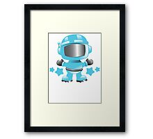 Little cute Space man in a Blue space suit Framed Print
