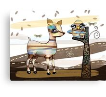 Deer and Owl Canvas Print