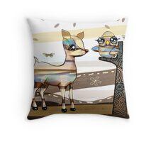 Deer and Owl Throw Pillow