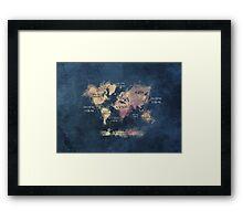 World map blue  Framed Print