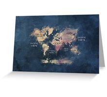 World map blue  Greeting Card