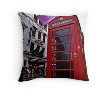 Red Phone Booth Throw Pillow