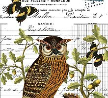 Owl on a branch digital collage with antique images by Melanie  Dooley