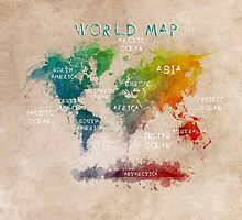 World Map Oceans and Continents by JBJart