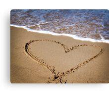 Fleeting Heart on a Sandy Beach Canvas Print