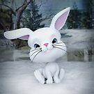 3D cartoon character of a cute bunny in winter snow by EmilyFNM3D
