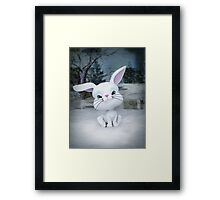 3D cartoon character of a cute bunny in winter snow Framed Print