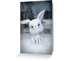 3D cartoon character of a cute bunny in winter snow Greeting Card