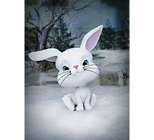 3D cartoon character of a cute bunny in winter snow Photographic Print