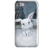 3D cartoon character of a cute bunny in winter snow iPhone Case/Skin