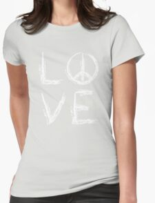 Peace and Love Womens Fitted T-Shirt