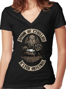 Spawn of Cthulhu - R'lyeh Original Women's Fitted V-Neck T-Shirt