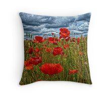 poppys in cornfeild Throw Pillow