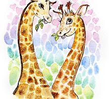 Giraffes love by Redilion
