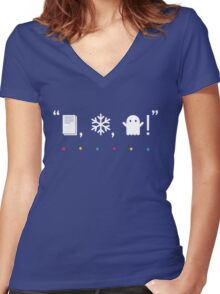 """Paper, Snow, A Ghost!"" Women's Fitted V-Neck T-Shirt"