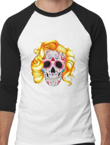 Day of the Dead Skull  Men's Baseball ¾ T-Shirt