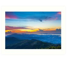 Majestic mountain landscape at sunset in Hong Kong Art Print